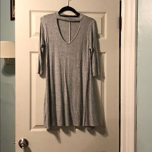 Grey comfy and soft and it's a dress.